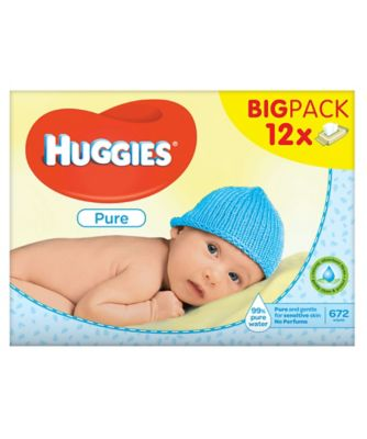 Huggies pure wipes 12 x 56 sheets