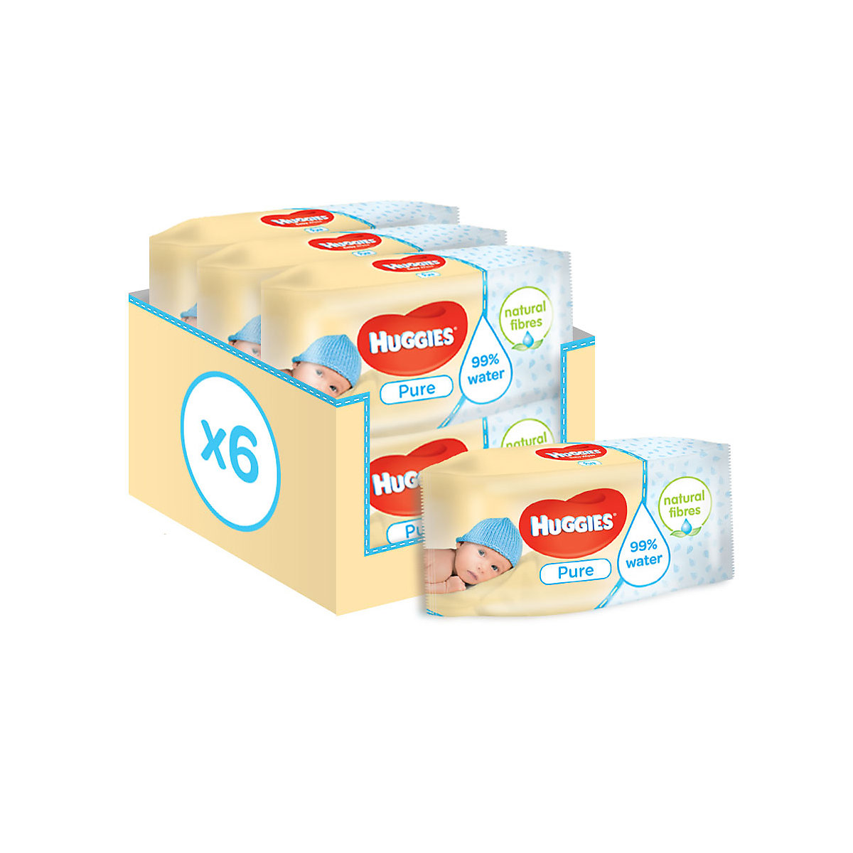 Huggies pure wipes - 6 x 56 wipes