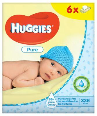 Huggies pure wipes - 6 x 56 wipes