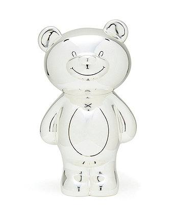 silver plated bear money box