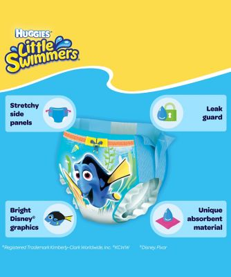 Huggies little swimmers swim nappies - size 2-3 (3-8kg/7-18lbs) - 12 pack