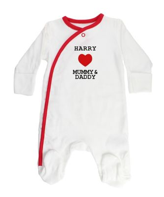 Personalised I Love Mummy and Daddy Sleepsuit