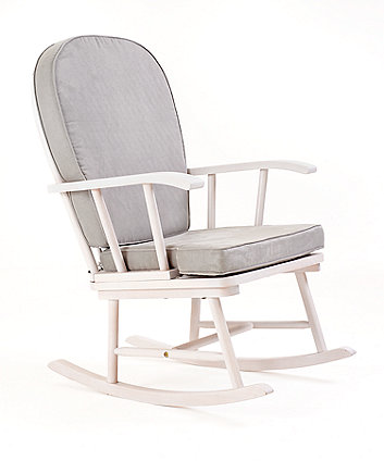 Mothercare Rocking Chair With Grey Cushion White