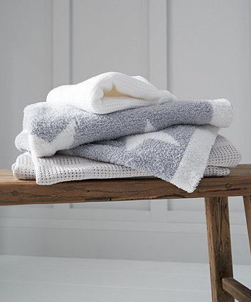 grey stars chenille knitted blanket