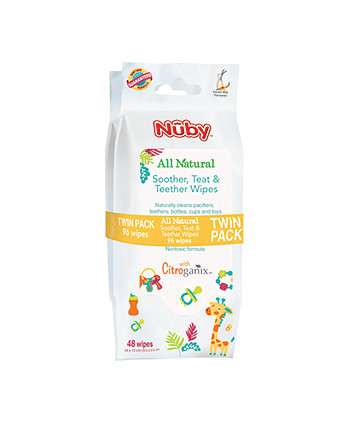 Nuby all natural soother, teat and teether wipes - 96 wipes