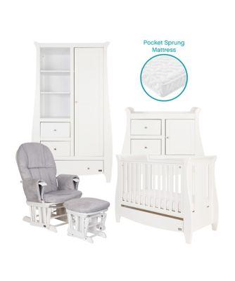 Tutti Bambini Lucas Sleigh 5 Piece Room Set - White