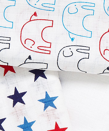 mothercare blue elephant muslins - 3 pack