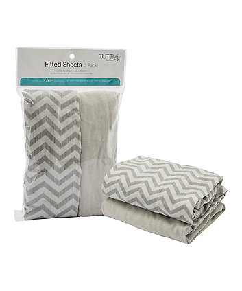 Tutti Bambini CoZee® bedside crib fitted sheets 2 pack - chevron/grey *exclusive to mothercare*