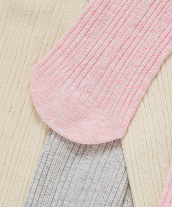 Pink, Cream and Grey Cable Knit Tights - 3 Pack