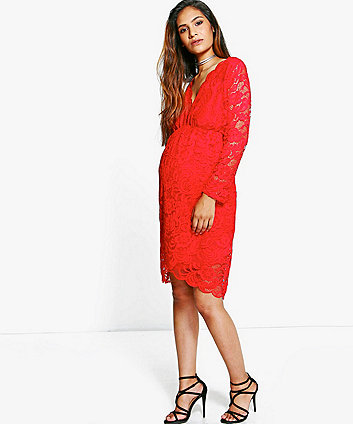 1d776075726 boohoo Red Maternity Lace Wrap Dress