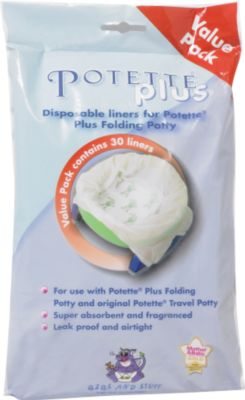 disposable fold-away potty liners - 30pk