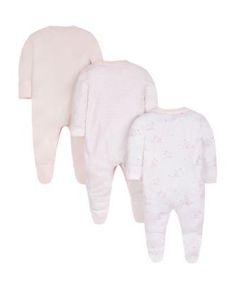 pink sleepsuits - 3 pack