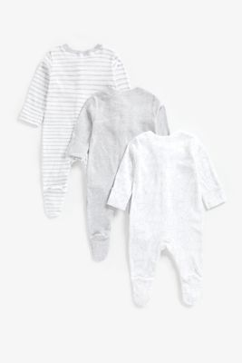 grey animal sleepsuits - 3 pack