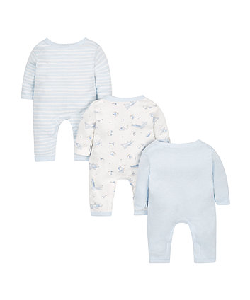 blue premature sleepsuits - 3 pack