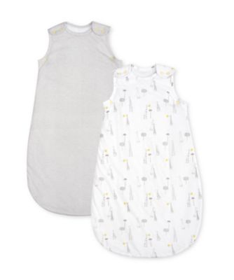 mothercare giraffe and stripe 2.5 tog sleep bags - 2 pack 0-6 months