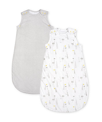 mothercare giraffe and stripe 2.5 tog sleep bags - 2 pack 6-18 months