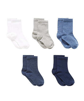 blue socks with aegis - 5 pack
