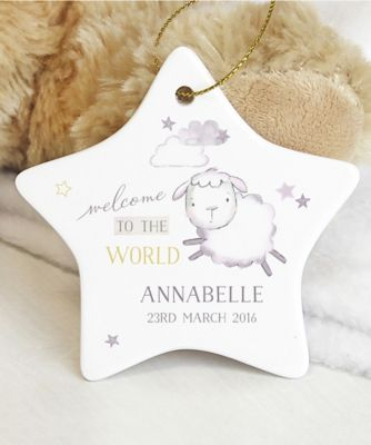 "Personalised ""Welcome to the World"" Ceramic Star Decoration"