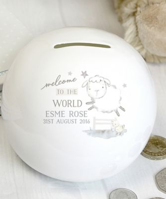 "Personalised ""Welcome to the World"" Ceramic Money Box"