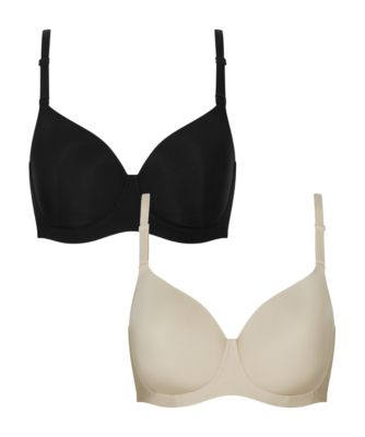 black and nude fuller bust pregnancy smoothing t-shirt bras - 2 pack