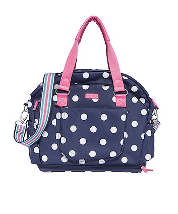 mothercare bluebell bowler changing bag - classic navy spot
