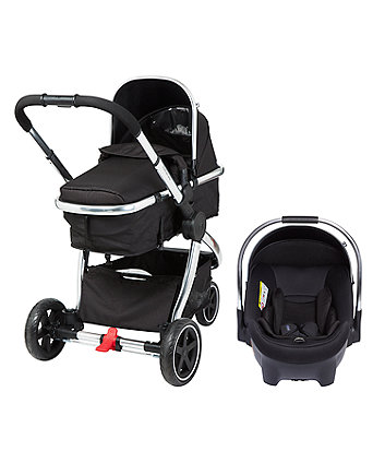mothercare 3-wheel journey chrome travel system - black