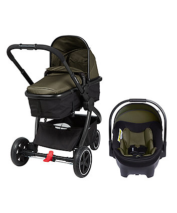 mothercare 3-wheel journey black travel system – khaki