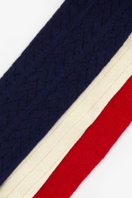 red, cream and navy cable knit tights - 3 pack