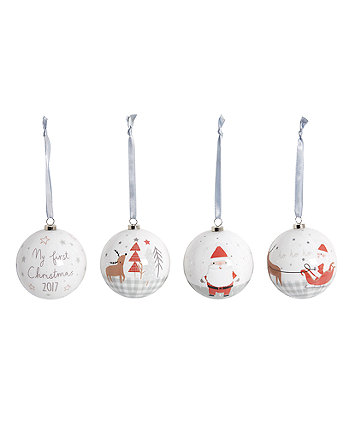 my first christmas baubles - 4 pack