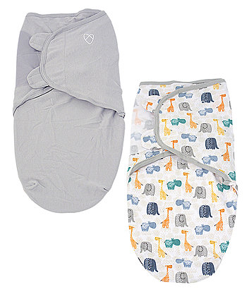 Summer Infant original swaddle - small (0-3 months) bohemian jungle and grey - 2 pack *exclusive to mothercare*