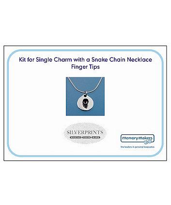 Memory Makers silverprints finger tip single charm on snake necklace - kit
