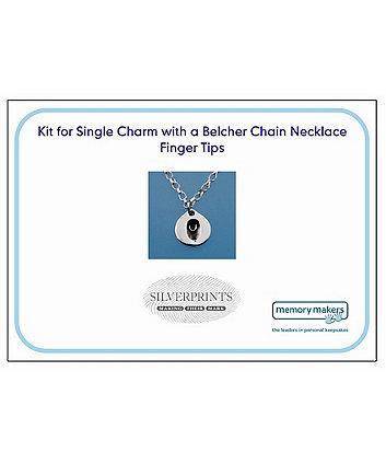 Memory Makers silverprints finger tip single charm on belcher necklace - kit