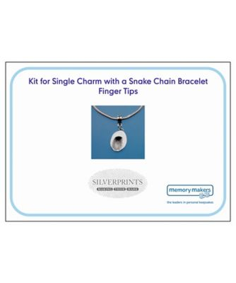 Memory Makers silverprints finger tip single charm on snake bracelet - kit