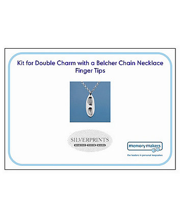 Memory Makers silverprints finger tip double charm on belcher necklace - kit