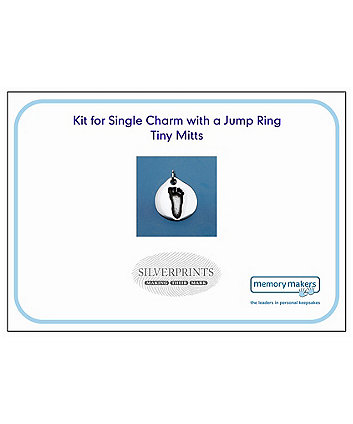 Memory Makers silverprints tiny mitts single charm with jump ring - kit
