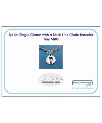 Memory Makers silverprints tiny mitts single charm on multi-link bracelet - kit