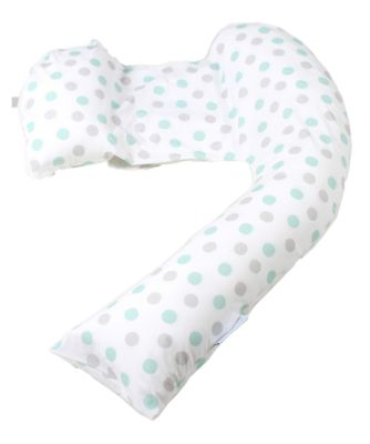 dreamgenii pregnancy support and feeding pillow - geo grey aqua *colour exclusive to mothercare*