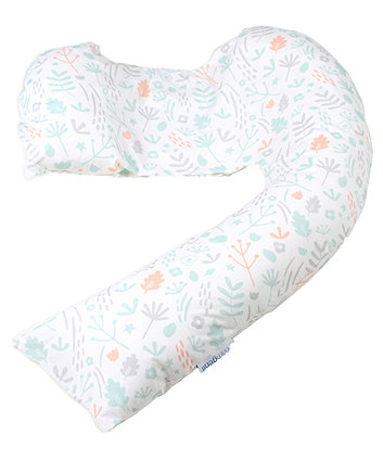 dreamgenii pregnancy support and feeding pillow - nature cotton grey coral