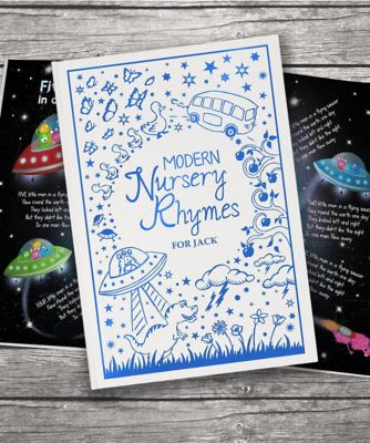 personalised modern nursery rhymes embossed classic hardback book