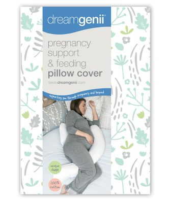 Dreamgenii pregnancy support and feeding pillow cover - nature cotton grey green
