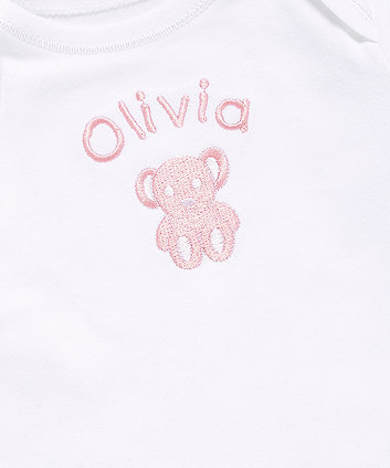 mothercare personalised teddy bear embroidery bodysuit - pink