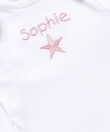mothercare personalised star embroidery bodysuit - pink