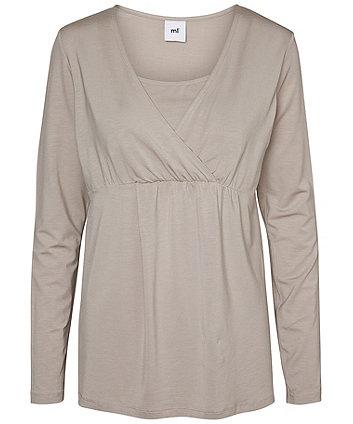 ae2f1c3854c23 Mamalicious Petite Tess Long Sleeved Jersey Nursing Top | fashion tops |  Mothercare