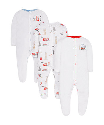 little soldier heritage sleepsuits - 3 pack