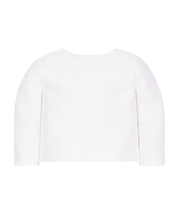 white purl knit cardigan
