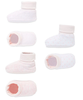 Stripy, Star and Plain Booties - 3 Pack