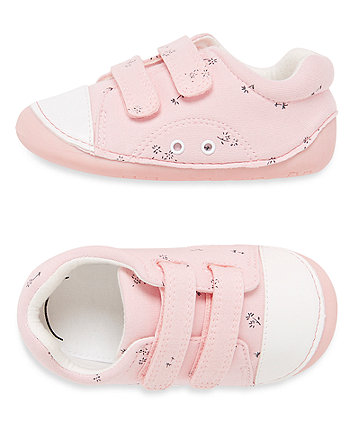 Pink Canvas Floral Crawler Shoes