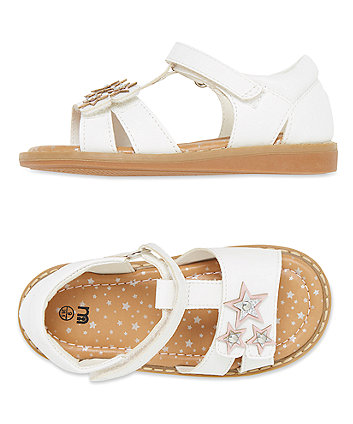 T Bar White Star Sandals