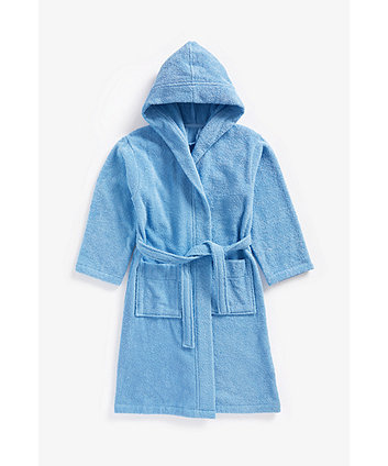 blue towelling robe