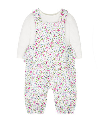 12c20851e floral cord dungarees and bodysuit set